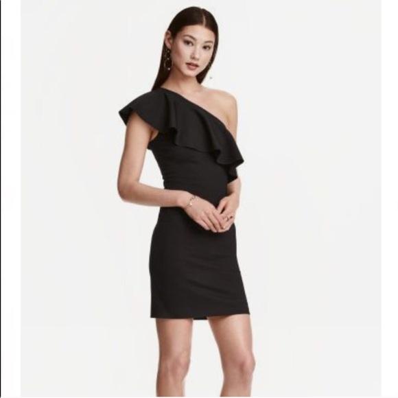 c81581005de1 H&M Dresses | Hm Black One Shoulder Ruffle Dress | Poshmark